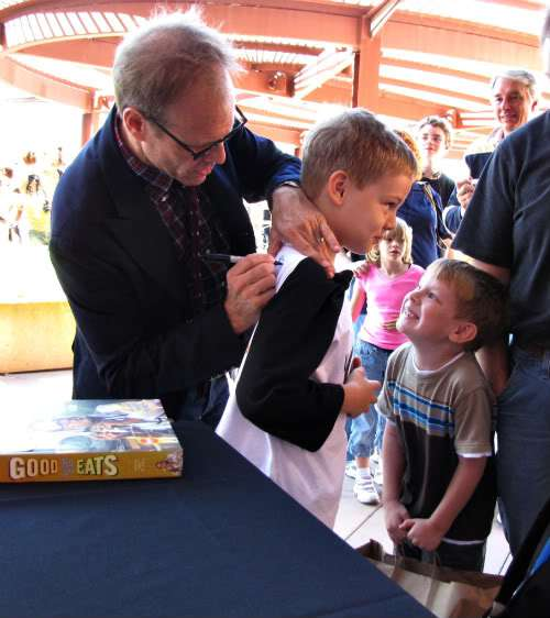 Alton Brown signing our Feasting on Asphalt Shirt