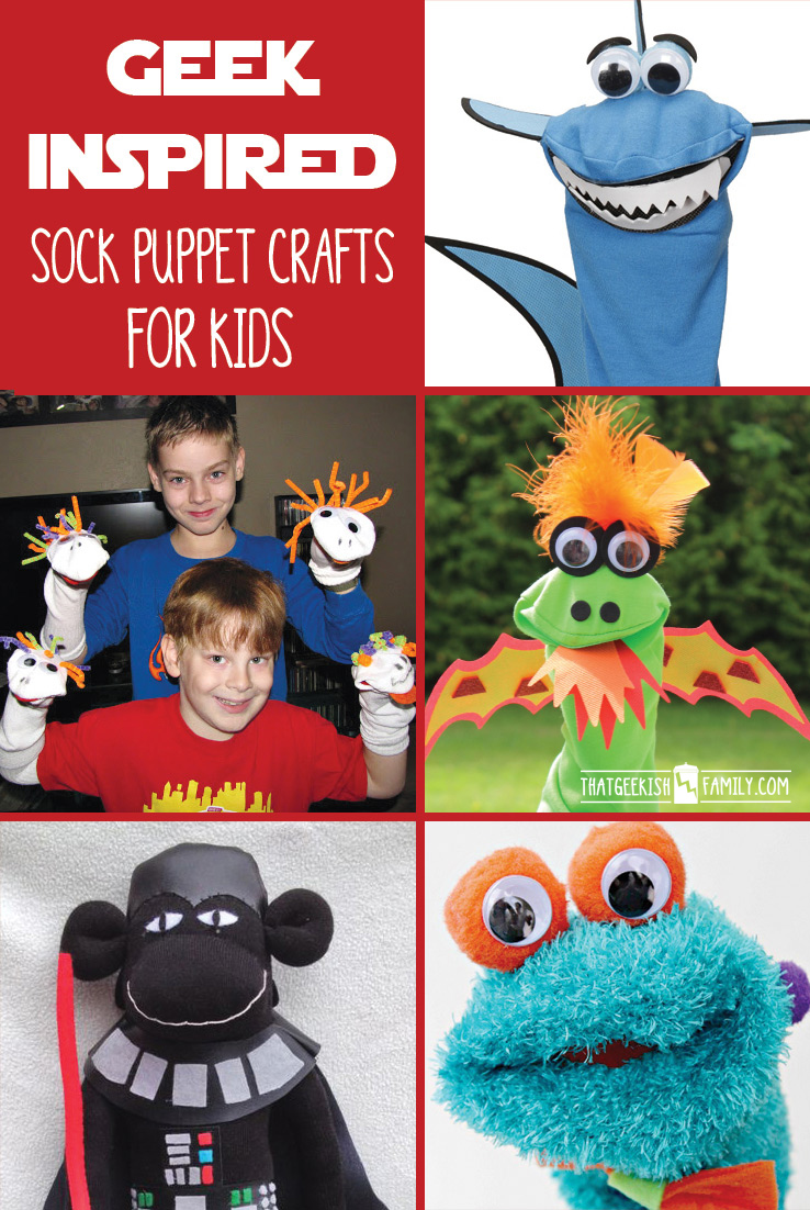 Don't let boredom take over your household! Check out these geek-inspired sock puppet crafts for kids (and for you!) and then let the imagination take over! (and face it -you want to play with them, too!) Check out these geeky sock puppet ideas for when your kids are SOOOOO bored by their school holiday freedom! (and face it -you want to play with them, too!)