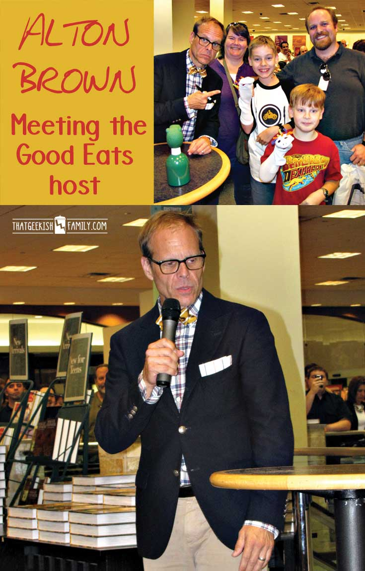 Sharing our fan-family moment ... Alton Brown, Good Eats Q&A at Frisco Barnes & Noble, Oct 2011