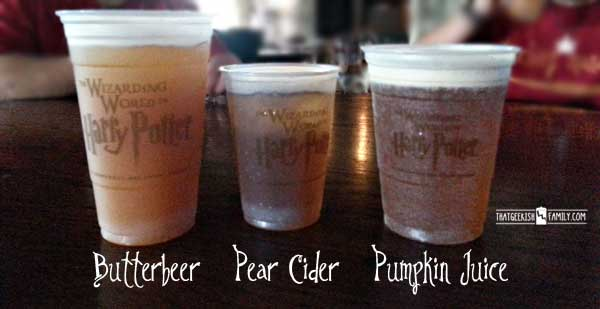 Harry Potter Beverages - Butterbeer, pear cider and pumpkin juice - Our first visit to Universal Orlando and Wizarding World of Harry Potter - come check it out for details on vacation planning and having fun!