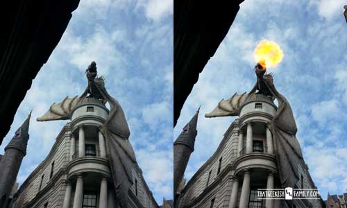 Gringotts Bank Dragon in Diagon Alley: Our first visit to Universal Orlando and Wizarding World of Harry Potter - come check it out for details on vacation planning and having fun!