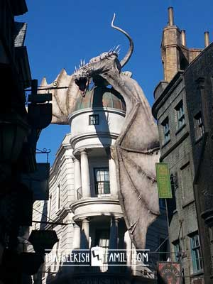 Gringotts Bank: Diagon Alley: Our first visit to Universal Orlando and Wizarding World of Harry Potter - come check it out for details on vacation planning and having fun!