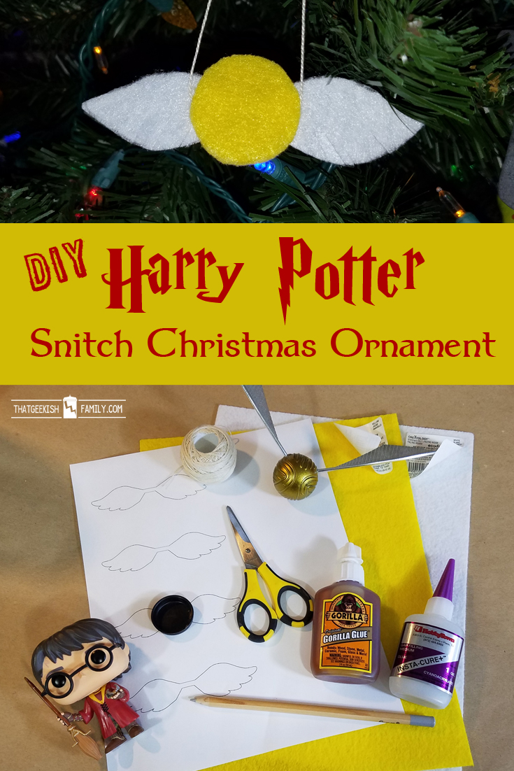DIY Harry Potter Snitch Christmas tree ornament - make your own snitch from felt - use on scrapbook pages, cards and more!