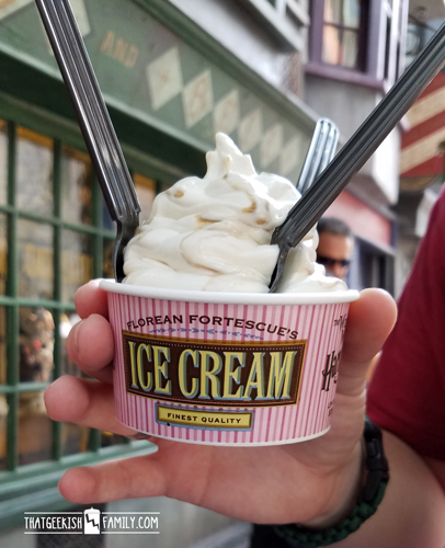 Take a quick stop to get some Butterbeer ice cream and enjoy your tour of Diagon Alley in the Wizarding World of Harry Potter at Universal Studios, Orland, FL on your family vacation!
