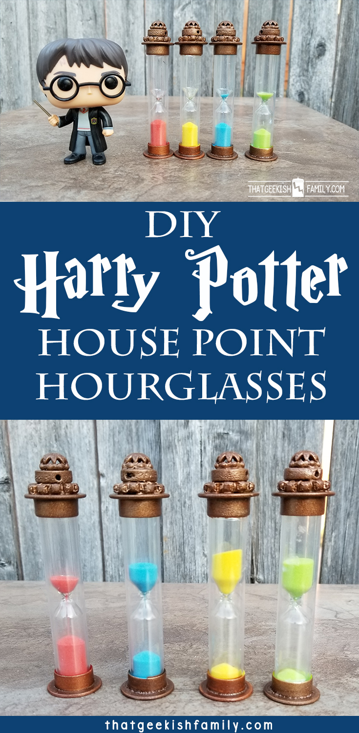 Learn to make these DIY Harry Potter House Point Hourglasses for these awesome additions to your Harry Potter themed room or birthday party!